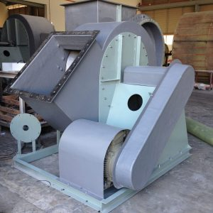 A belt-driven FRP centrifugal fan