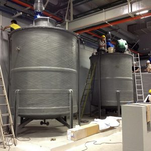 FRP reactor tank with top mounted agitator