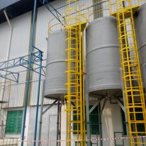FRP tank with conical bottom, leg support, ladder, platform and railing 01