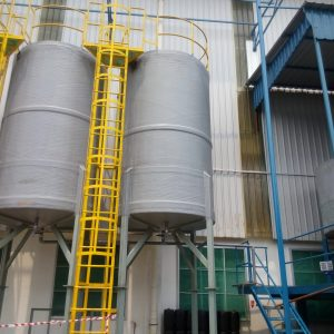 FRP tank with conical bottom, leg support, ladder, platform and railing