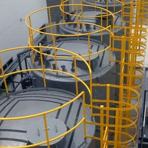 FRP tanks with ladder and railing