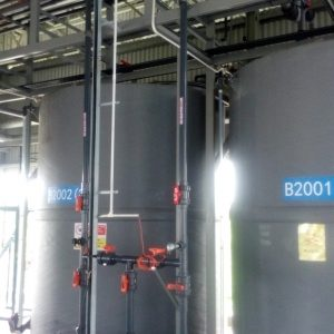 Chlorine water recirculation tank and pump (with FRP pump cover)
